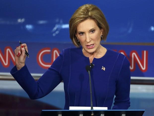 A pré-candidata republicana Carly Fiorina participa de debate promovido pela CNN na noite de quarta (16) (Foto: Reuters/Lucy Nicholson)