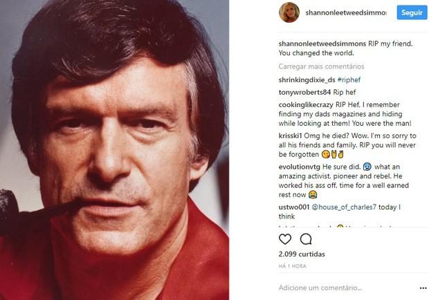 Shannon Lee Tweed Simmons lamenta morte de Hugh Hefner (Foto: Reprodução/Instagram)