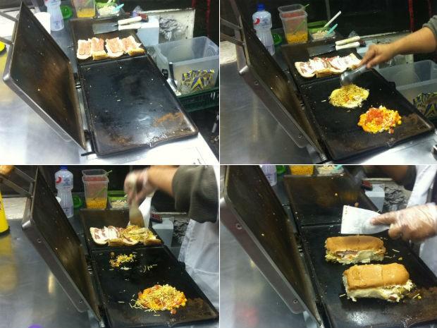 Recheio do lanche é preparado à parte, e depois prensado junto com o pão e a salsicha (Foto: Fernando Castro/G1)