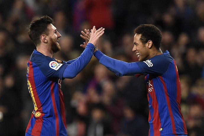 Messi Neymar gol Barcelona (Foto: AFP)