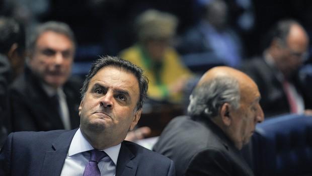 O senador Aécio Neves (PSDB-MG) durante sessão de julgamento do impeachment (Foto: Pedro França/Agência Senado)