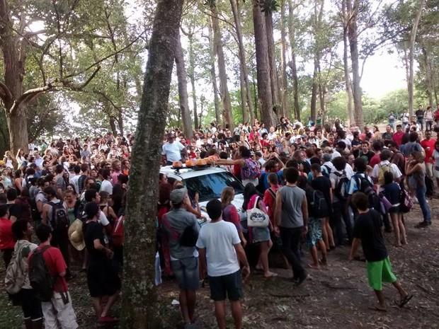 Estudantes protestam no campus da UFSC  (Foto: Helio Rodak De Quadros Junior/Divulgação)