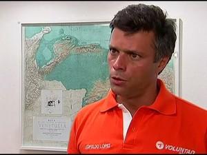 Leopoldo López, líder da oposição na Venezuela, teve a prisão decretada pela Justiça/GNews (Foto: Reprodução GloboNews)