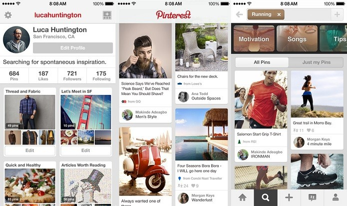 Pinterest agora permite enviar mensagens diretas como no Twitter (Foto: Divulgação/AppStore)