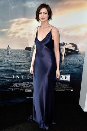 Anne Hathaway em première de filme em Los Angeles, nos Estados Unidos (Foto: Frazer Harrison/ Getty Images/ AFP )