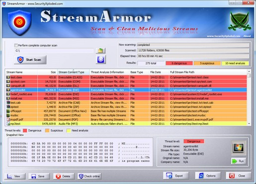 Stream Armor - Поиск вирусов в потоках данных (ADS).