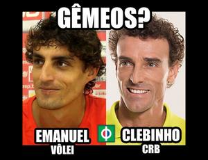 Montagem feita pela página Pontapé Alagoano trocou os nomes dos atletas (Foto: Reprodução/Instagram)