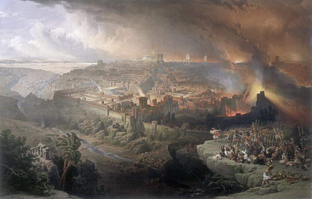 Pintura sobre a destruição de Jerusalém pelas tropas romanas (Foto: Reprodução)