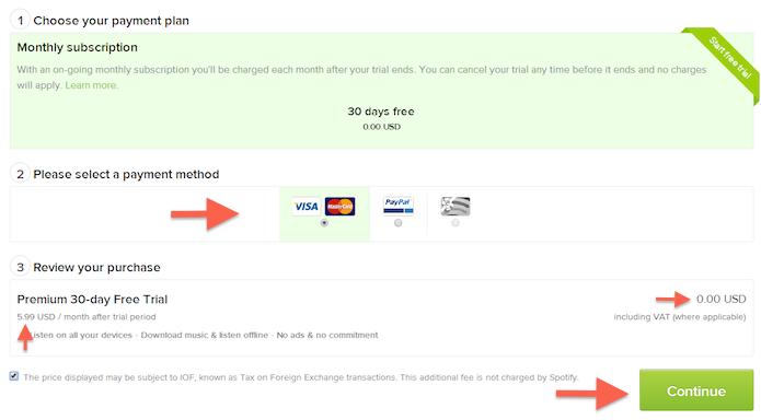 Determinando a bandeira do cartão de crédito utilizado para cadastro no Spotify (Foto: Reprodução/Marvin Costa)