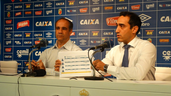 Médicos do Cruzeiro mostram nova planilha do departamento médico (Foto: Marco Antônio Astoni)