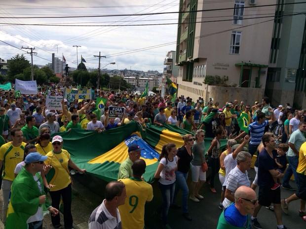 Manifestação em Lages (Foto: Maurício Santos/Divulgação)