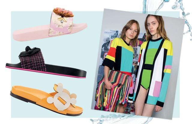 De cima para baixo: Dolce & Gabbana R$ 4.100, Chanel a partir de R$ 2.740 e Anya Hindmarch US$ 650. Ao lado, Pucci/ Verão 2017 (Foto: Imaxtree, Thinkstock e Divulgação)