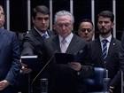 Michel Temer faz o juramento para tomar posse como presidente