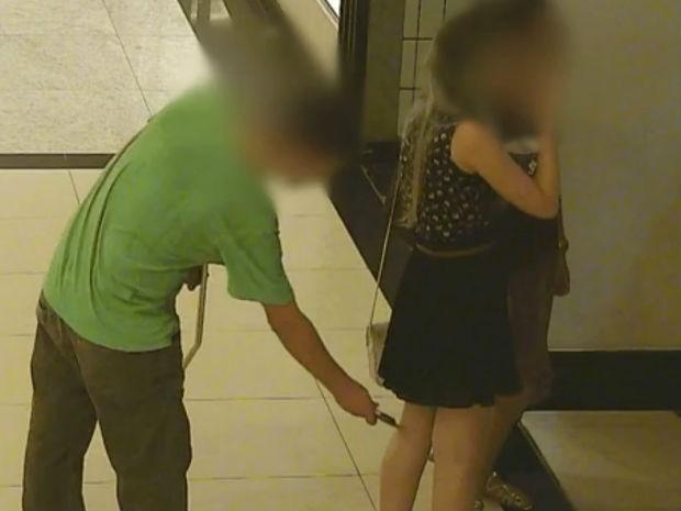 Homem é detido após filmar mulheres em shopping de São José (Foto: Reprodução/TV Vanguarda)
