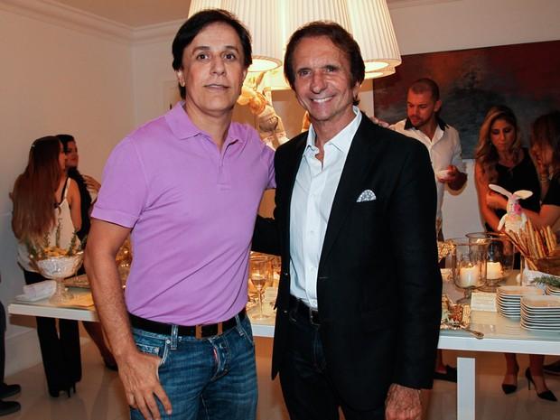Tom Cavalcante e Emerson Fittipaldi em evento em São Paulo (Foto: Manuela Scarpa/ Foto Rio News)