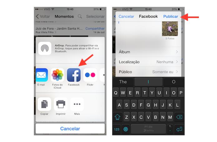 Compartilhando fotos da visualização momentos do iOS com o Facebook (Foto: Reprodução/Marvin Costa)