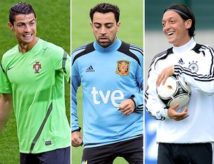 montagem Cristiano Ronaldo Xavi Ozil Euro (Foto: Editoria de Arte / Globoesporte.com)