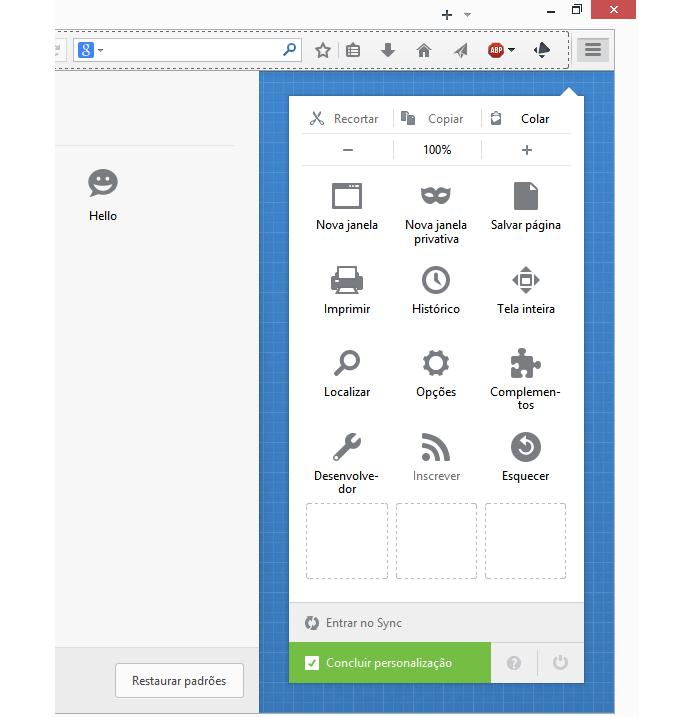 Botão do Hello deve ser encontrado no menu de customização do navegador (foto: Reprodução/Firefox)