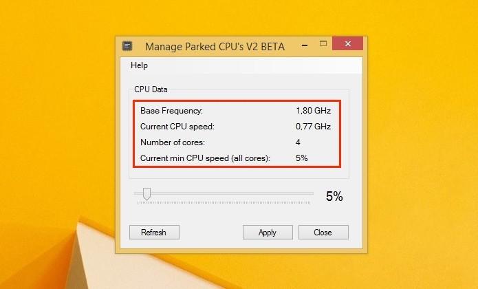 Tela inicial da ferramenta CPU Core Parking Manager (Foto: Reprodução/Raquel Freire)