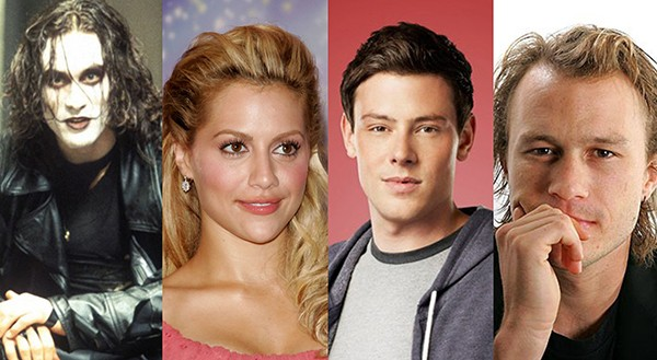 Brandon Lee, Brittany Murphy, Cory Monteith, Heath Ledger (Foto: Getty Images e Divulgação)