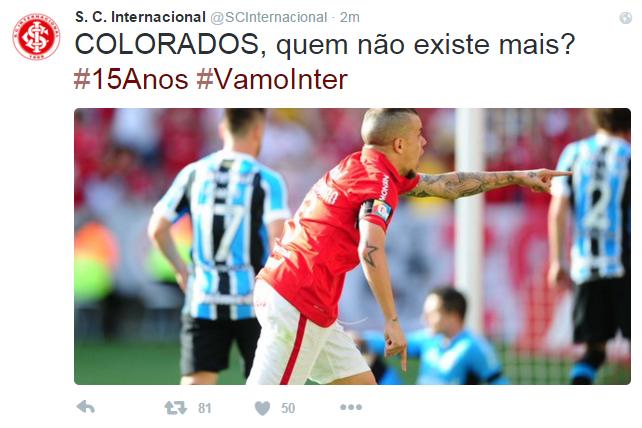 Gre-Nal 408 Internacional x Grêmio Inter Grêmio Beira-Rio corneta inter (Foto: Reprodução/Twitter)