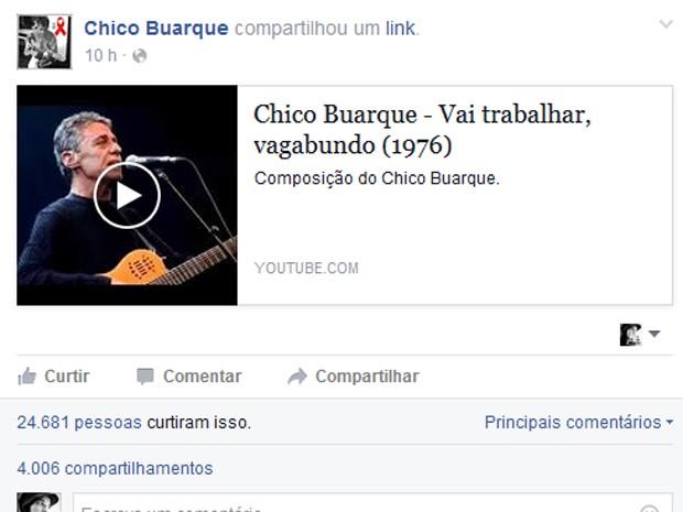 Chico Buarque posta vídeo no Facebook após bate-boca com jovens sobre PT (Foto: Reprodução/ Facebook)