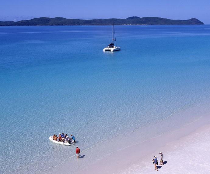 A Whitehaven Beach fica na maior ilha do arquipélogo a Whitehaven (Foto: Divulgação)