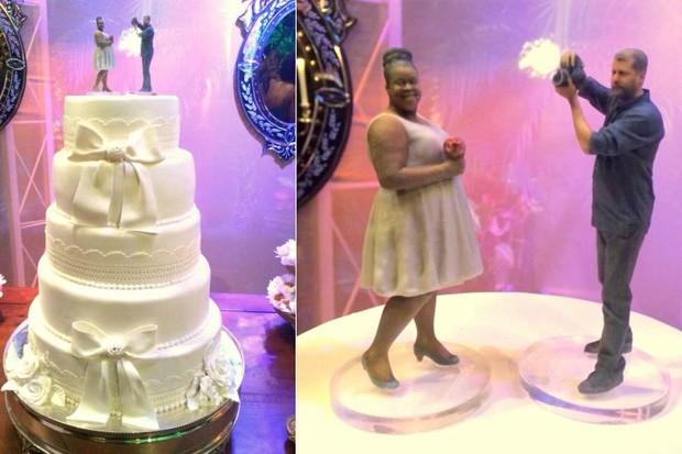 Detalhes do bolo de casamento de Cacau Protásio e Janderson Pires (Foto: Léo Martinez/EGO)