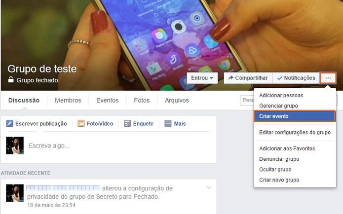 Acesse o grupo e inicie a criação do evento no Facebook (Foto: Reprodução/Barbara Mannara)