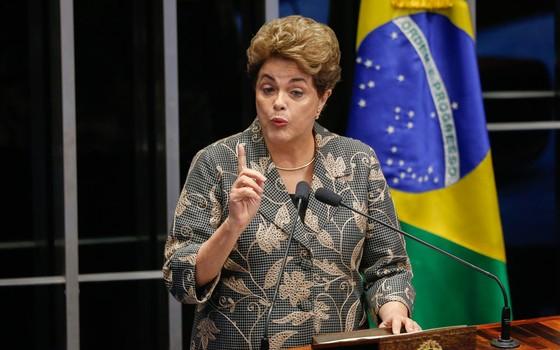 Presidente afastada Dilma Rousseff durante defesa no Plenário do Senado (Foto:  Sérgio Lima/ÉPOCA)