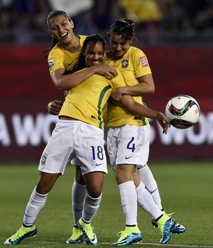 Raquel Fernandes comemoração, Brasil x Costa Rica Mundial feminino (Foto: AFP)