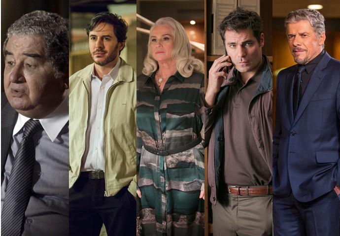 Venturini, Augusto, Mág, Ciro e Tião tiveram problemas com Fausto (Foto: Felipe Monteiro/Raphael Dias/Artur Meninea/Gshow)