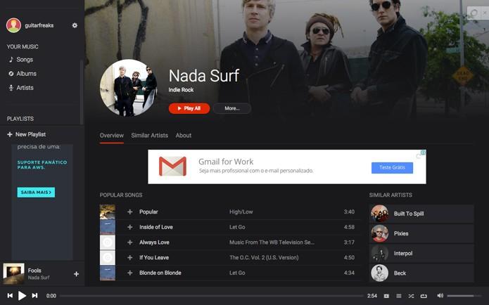 Página com informações e músicas da banda pesquisada (Foto: Reprodução/André Sugai)