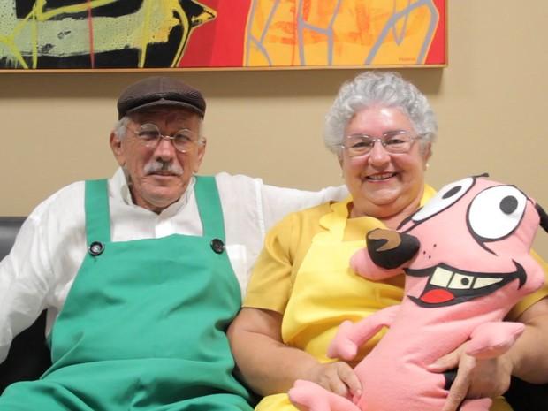 Carlos e Albani Paiva resolveram fazer cosplay de Eustácio e Muriel por ideia da filha do casal (Foto: Diogo Almeida/G1)