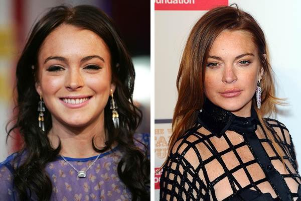 Lindsay Lohan em 2005 e agora (Foto: Getty Images)