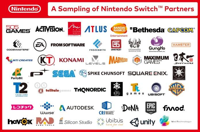 Empresas confirmadas no Switch (Foto: Divulgação/Nintendo)