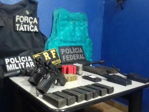 Armamento recuperado que estava em posse dos indígenas (Foto: Diogo Nolasco/TV Morena)