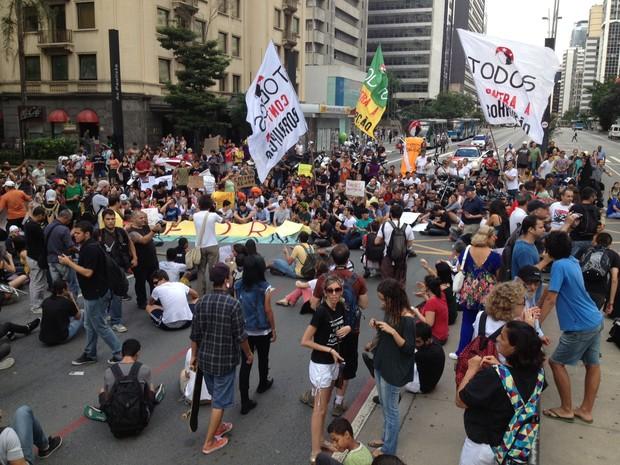 Protesto contra Renan Calheiros trava Avenida Paulista (Foto: Rafael/G1)
