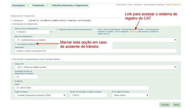 Página para comunicar acidentes de trabalho (Foto: Reprodução)