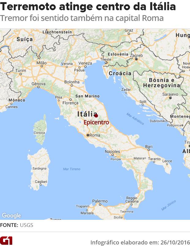 Mata terremoto Itália (Foto: Editoria de Arte/G1)