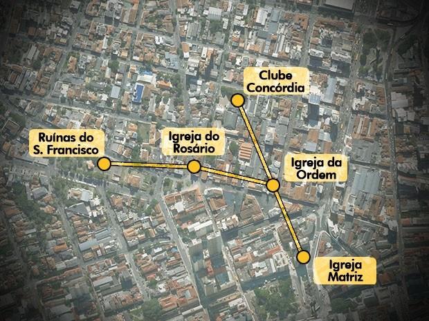 Mapa mostra algumas das principais ligações dos túneis de Curitiba (Foto: Arte / RPC TV)