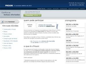 Bolsas podem ser consultadas no site do Prouni (Foto: Reprodução/Inep)