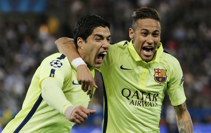 Suarez e Neymar - PSG x Barcelona (Foto: Reuters)