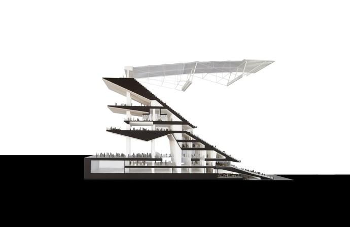 Visão dos lances de arquibancada do projeto do novo Camp Nou, estádio do Barcelona (Foto: Reprodução)