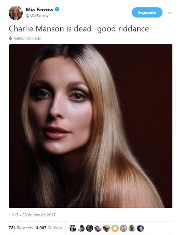 Mia Farrow faz post com foto de Sharon Tate após morte de Charles Mason (Foto: Reprodução/Twitter)