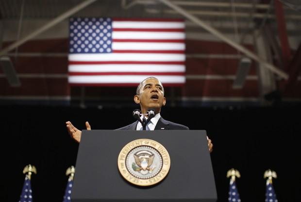O presidente dos EUA, Barack Obama, discursa sobre reforma migratória nesta terça-feira (29) em Las Vegas (Foto: AP)