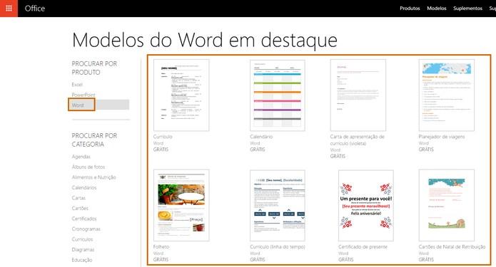 Acesse o Word Templates e escolha a melhor opção para você (Foto: Reprodução/Barbara Mannara)