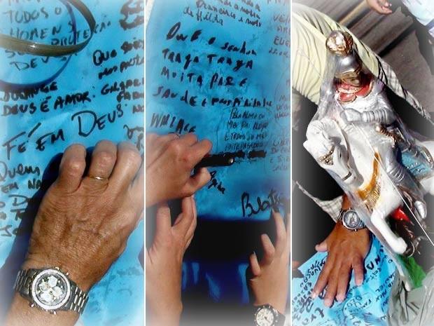 Montagem com o bandeirão do Papa no Rio de Janeiro (Foto: Gilberto Porcidonio/ Arquivo pessoal)