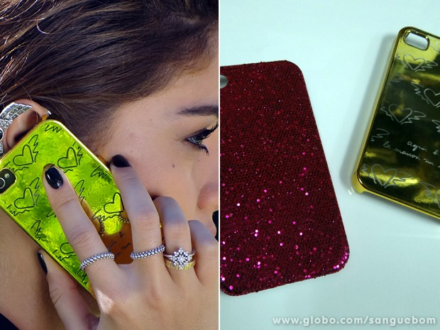 As capinhas de celular de Amora Campana: puro brilho e estilo! (Foto: Sangue Bom / TV Globo)