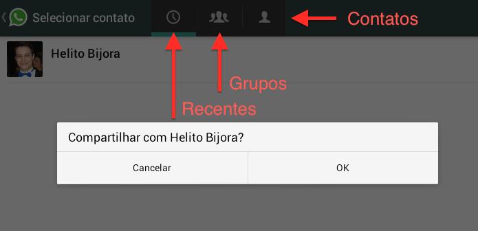 Selecione o contato que deseja compartilhar a foto (Foto: Reprodução/Helito Bijora)